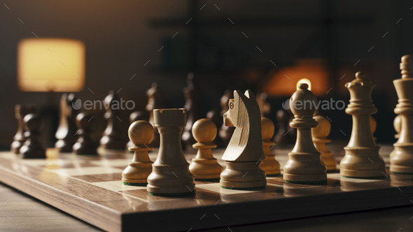 Chess pieces arranged on the chessboard - Stock Photo - Images