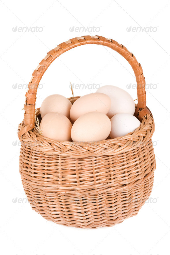 basket and eggs - Stock Photo - Images
