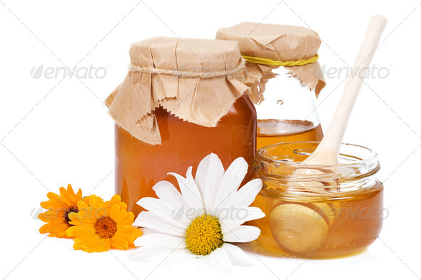 honey and flowers - Stock Photo - Images