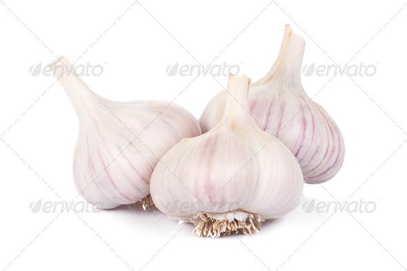 image of isolated garlics - Stock Photo - Images