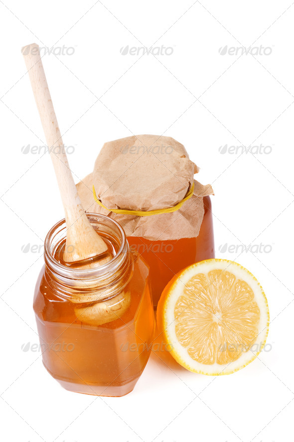 lemon and honey on white - Stock Photo - Images