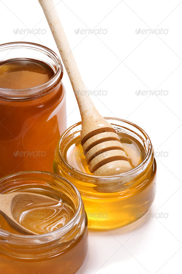 glass pots with honey - Stock Photo - Images
