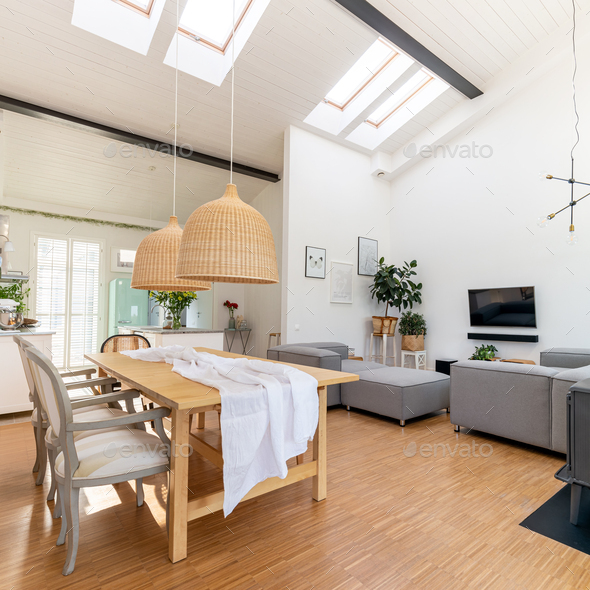Open space living and dining room interior - Stock Photo - Images