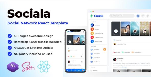 Sociala - Social Network App React Template