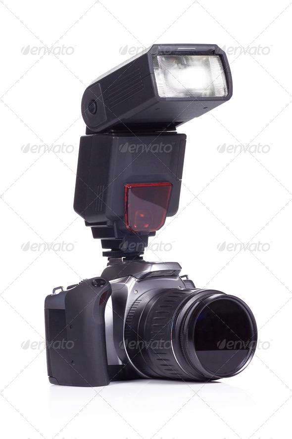 camera on white background - Stock Photo - Images