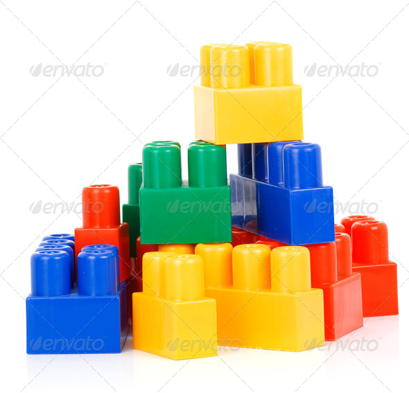 colorful plastic bricks - Stock Photo - Images