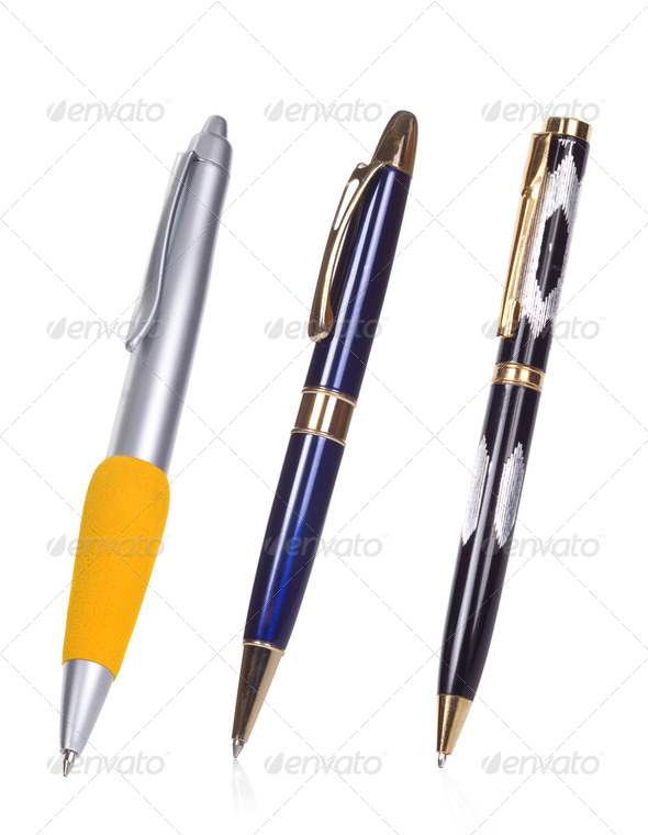 isolated pens on white - Stock Photo - Images