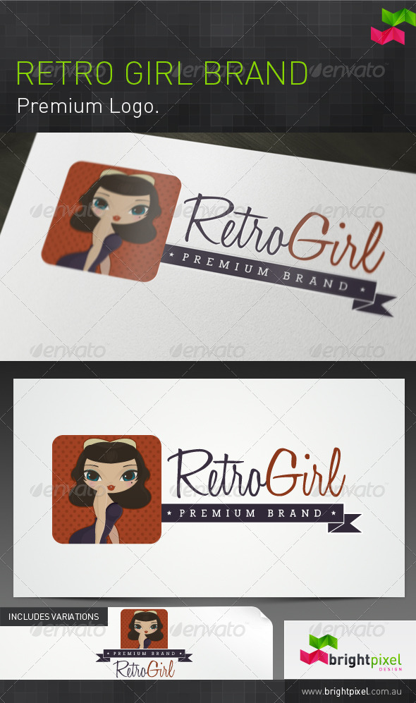 Retro Girl Brand - Humans Logo Templates