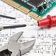 Circuit board with transistors, resistors, capacitor. Diagram of electronics - PhotoDune Item for Sale