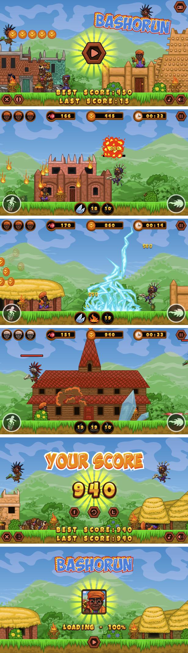 BASHORUN - HTML5 Game + Mobile Version! (Construct 3   Construct 2   Capx) - 1