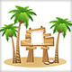 Palm trees and wooden sign  - GraphicRiver Item for Sale