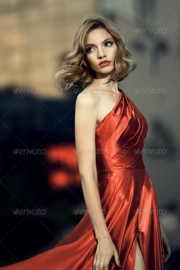 Sexy Young Beauty Woman In Fluttering Red Dress - Stock Photo - Images