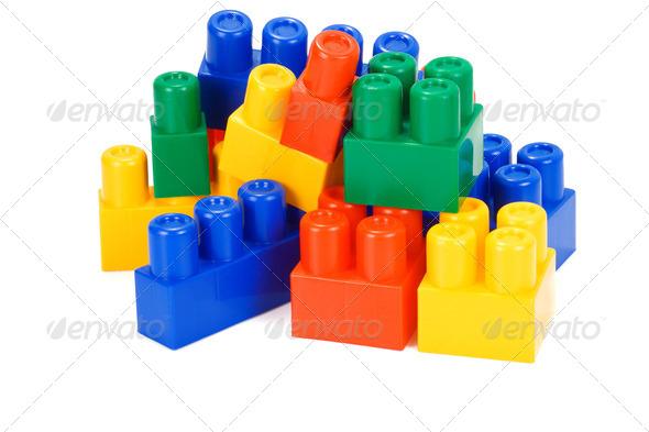 plastic bricks on white - Stock Photo - Images