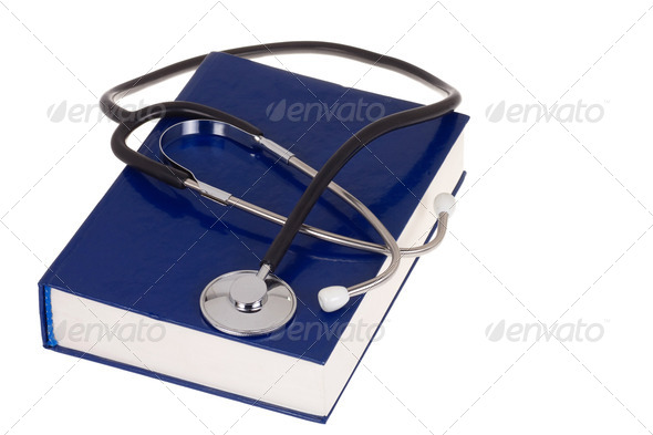 book and stethoscope on white - Stock Photo - Images