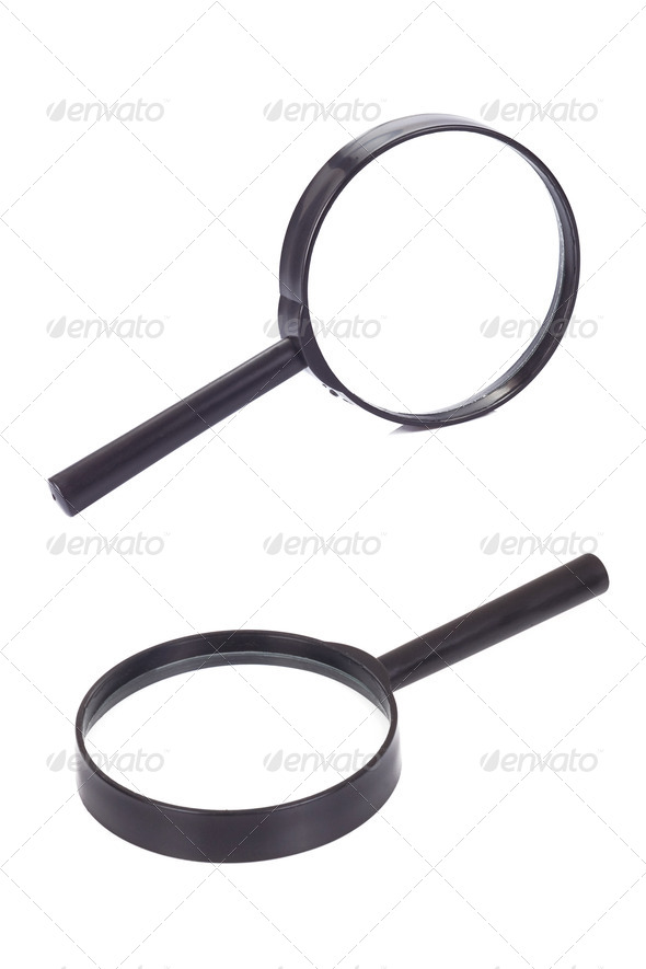magnifying glass on white - Stock Photo - Images
