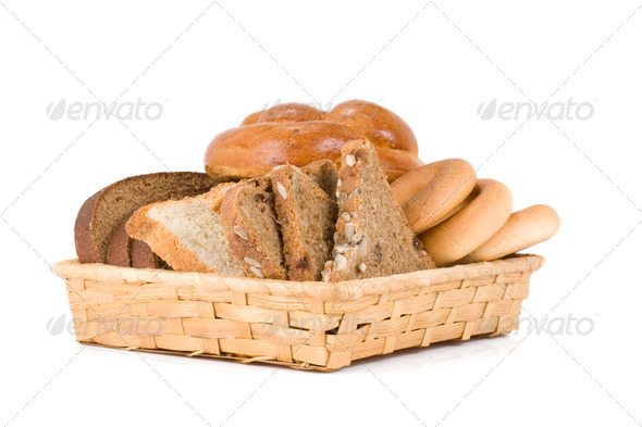 sliced bread in basket - Stock Photo - Images