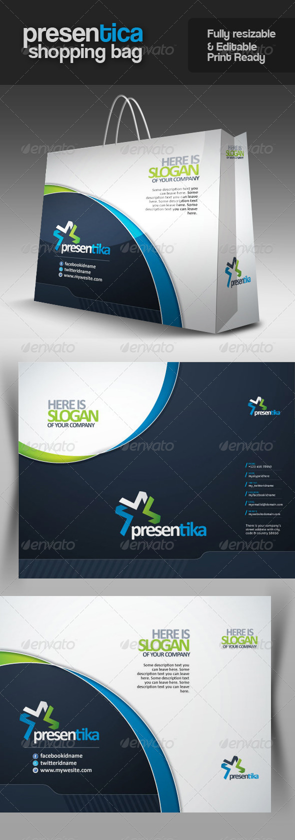 Presentica Multipurpose Shopping Bag - Packaging Print Templates