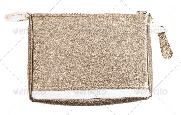 gold brown soft leather vanity bag - Stock Photo - Images