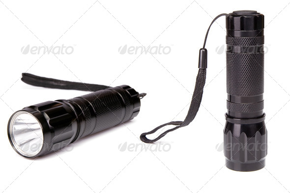 black flashlight isolated on white - Stock Photo - Images