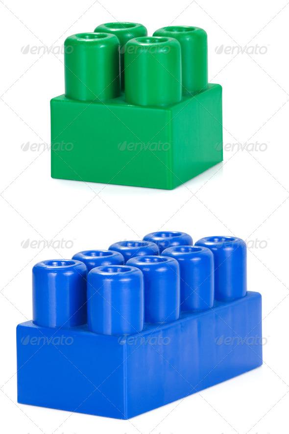 colorful plastic bricks isolated on white - Stock Photo - Images