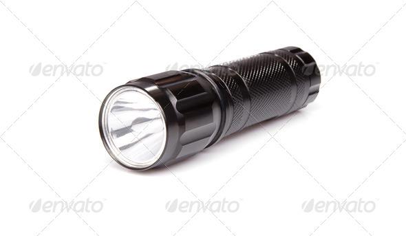 black flashlight isolated on white - Stock Photo - Images