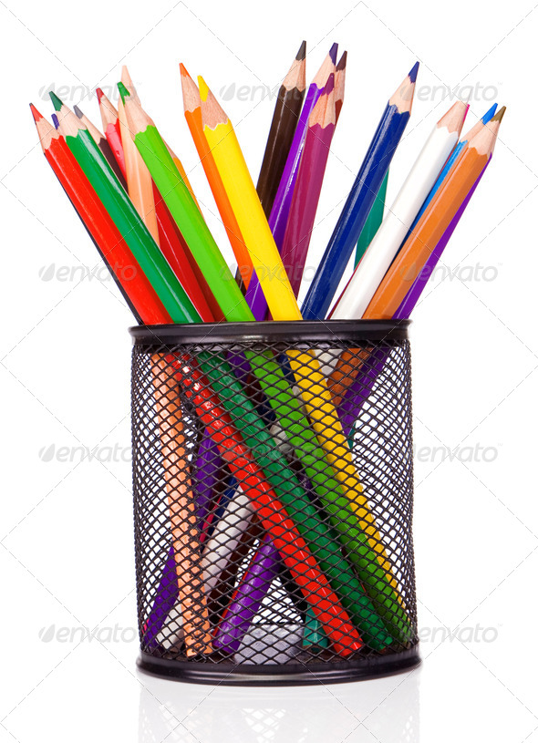 holder basket and colorful pencils - Stock Photo - Images