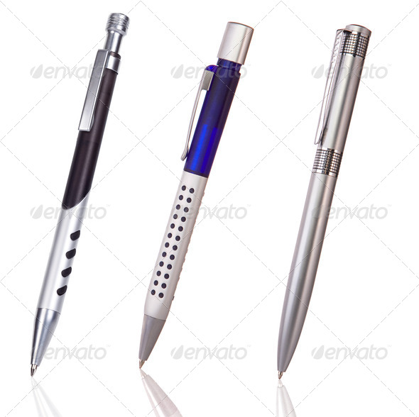 black, blue and silver shining pens isolated on white - Stock Photo - Images