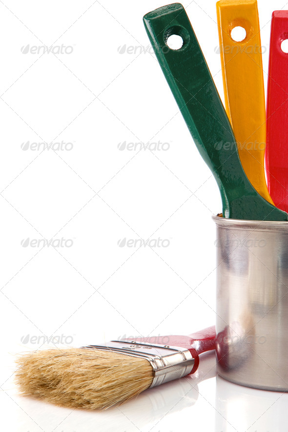 paint buckets, paint and brush isolated on white - Stock Photo - Images