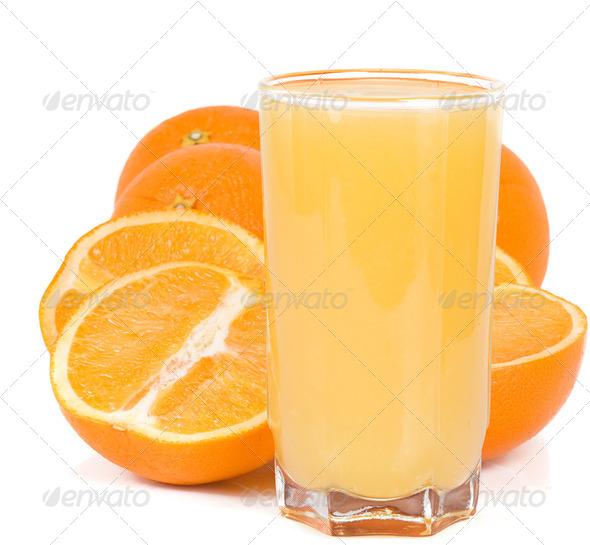 orange and juice isolated on white - Stock Photo - Images