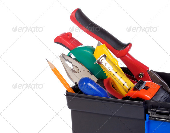 set of tools and istruments in black plastic box isolated on whi - Stock Photo - Images