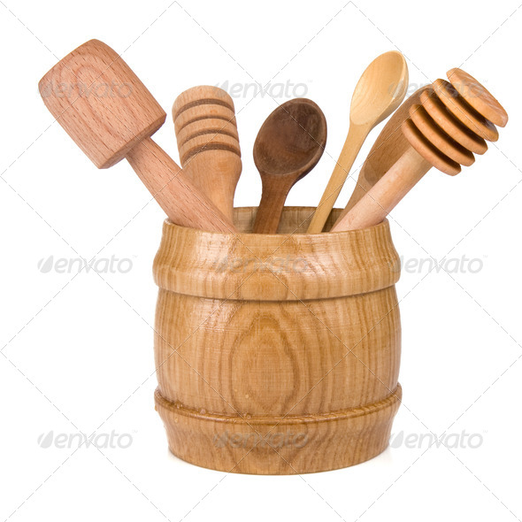 wooden cooking utensils in container isolated on white - Stock Photo - Images