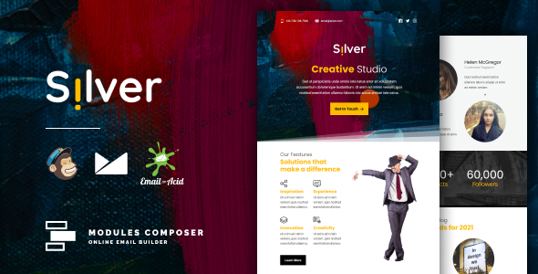 Silver - Responsive Email for Agencies, Startups & Creative Teams with Online Builder