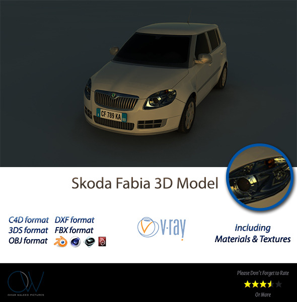 Skoda Fabia 3D Model - 3DOcean Item for Sale