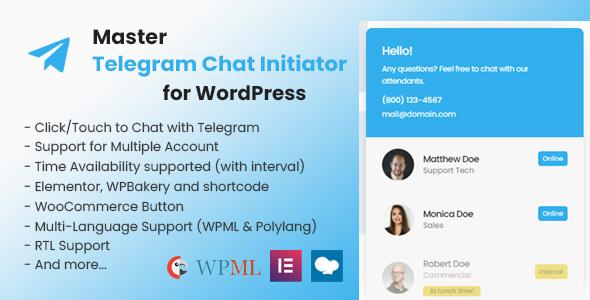 Download Master Telegram Chat Initiator for WordPress Free Nulled