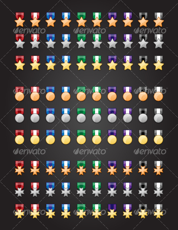 90 Medal Icons - Man-made objects Objects