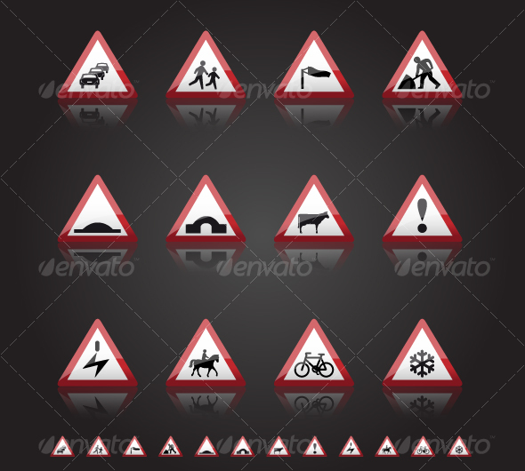 UK Road Signs: Warnings 3 - Man-made objects Objects