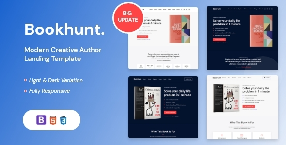 Extraordinary Bookhunt - Book Landing Template With RTL Version