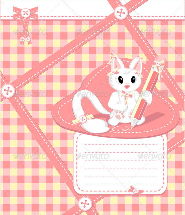 Copybook with cat pencil bows  buttons  in cell - Animals Characters