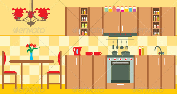 Kitchen furniture. Interior - Buildings Objects