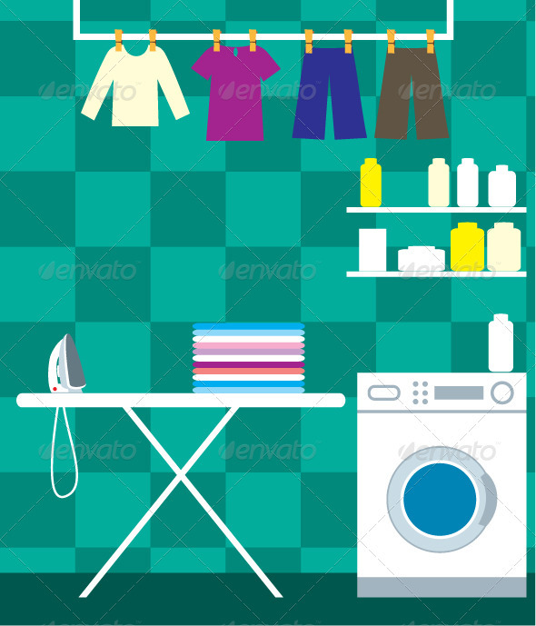 Washing room - Objects Vectors