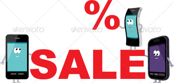 Discount for smartphones, sale - Objects Vectors