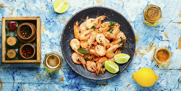Boiled shrimp and light beer - Stock Photo - Images