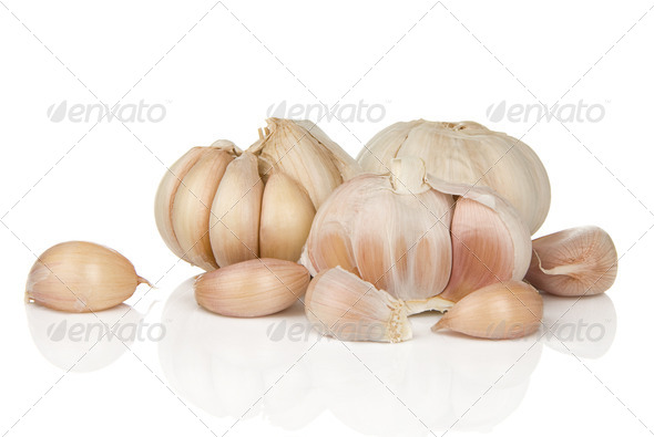garlics isolated on white - Stock Photo - Images