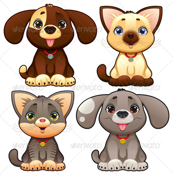 Cute dogs and cats. - Animals Characters