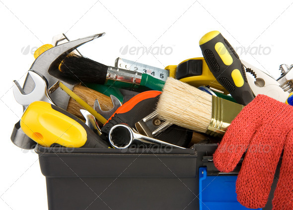tools and instruments in black plastic box - Stock Photo - Images