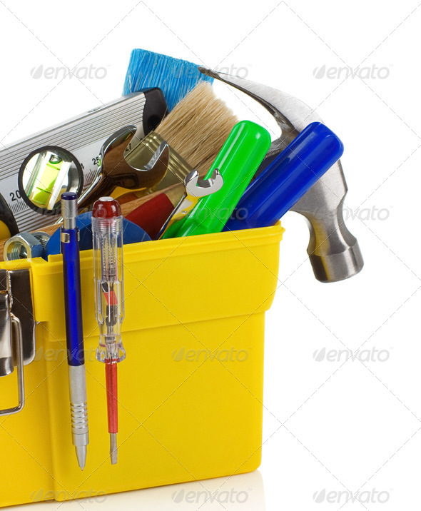 tools and instruments in plastic box - Stock Photo - Images