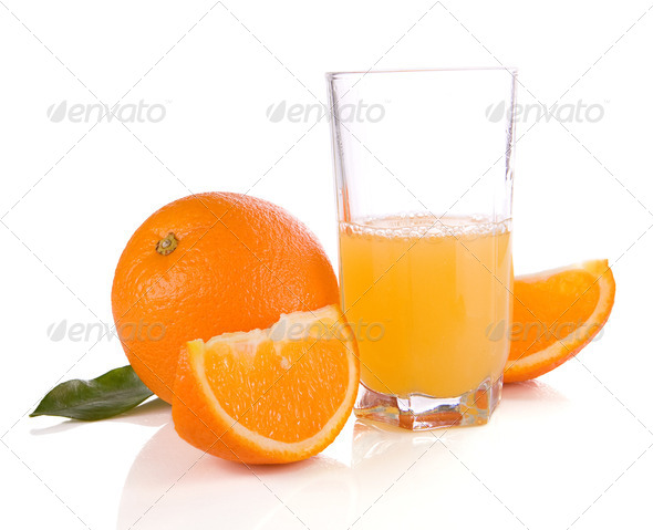 juice and oranges isolated on white - Stock Photo - Images