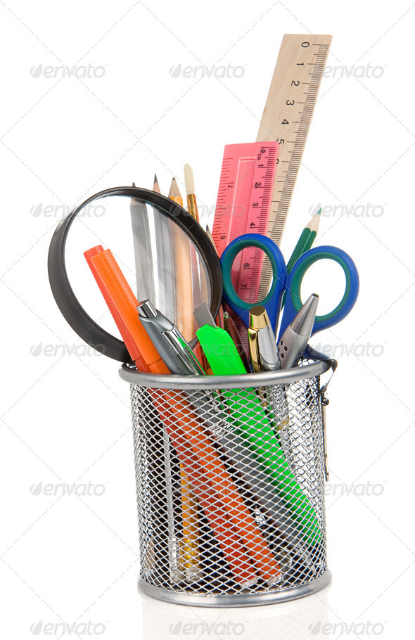 set of school accessories in holder on white - Stock Photo - Images