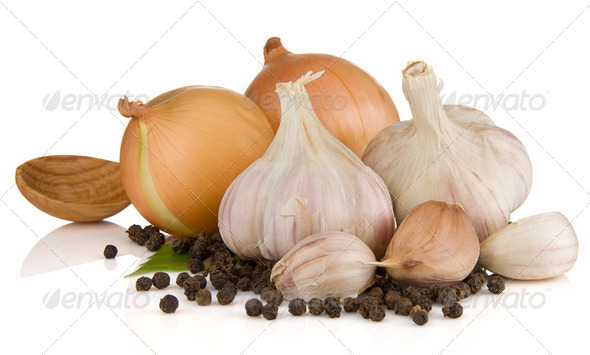 garlics, pepper and onion isolated on white - Stock Photo - Images
