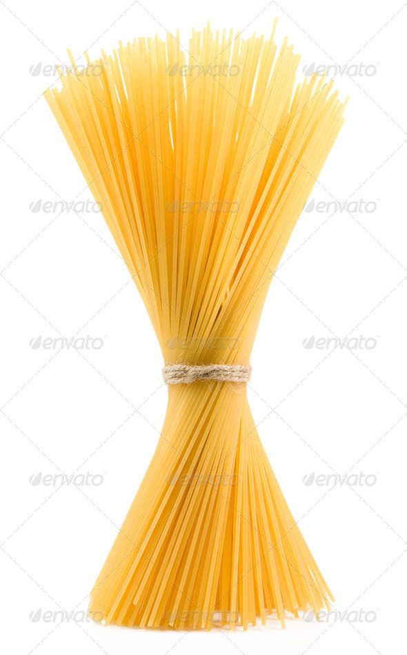 bunch of spaghetti isolated on white - Stock Photo - Images